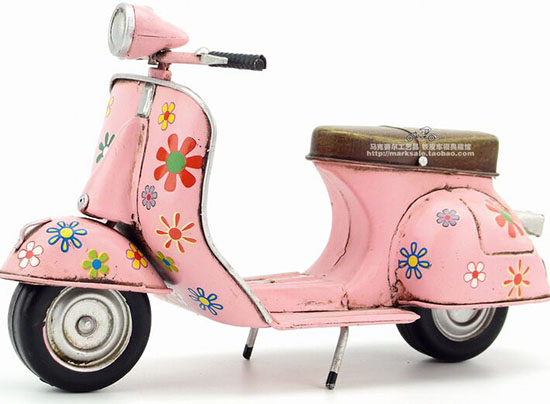 Handmade Medium Scale Tinplate Pink 1969 Vespa Scooter Model