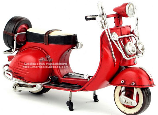 Red / Blue Tinplate Handmade Vintage 1959 Vespa Scooter Model