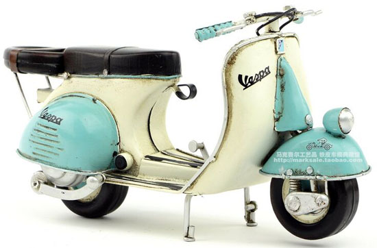 Handmade Blue-White Tinplate Retro 1965 Vespa Scooter Model