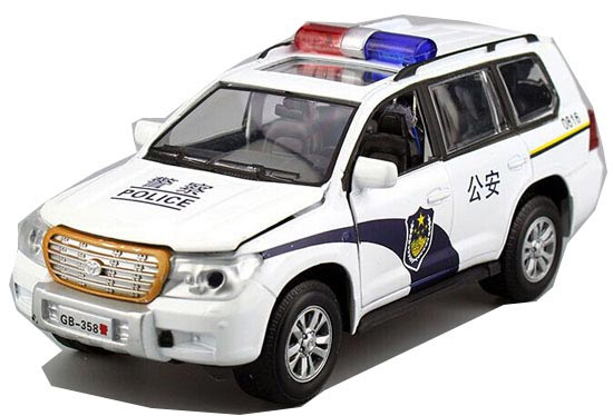 1:32 Scale Kids White Police Diecast Toyota Land Cruiser Toy