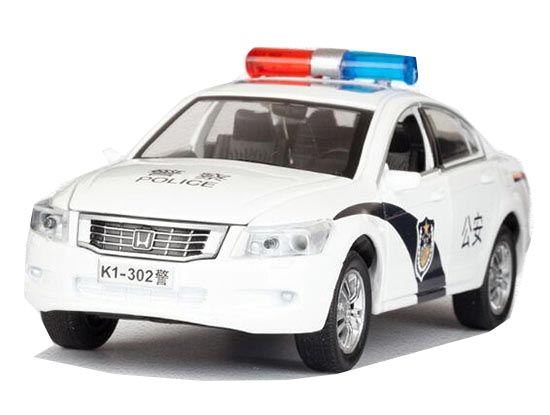White 1:32 Scale Diecast Honda Accord Police Car Toy