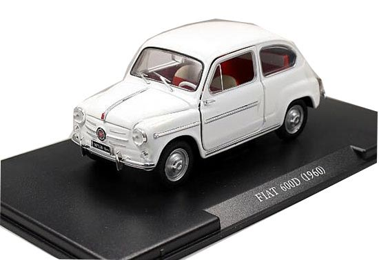 1:24 Scale White Diecast 1960 Fiat 600D Model