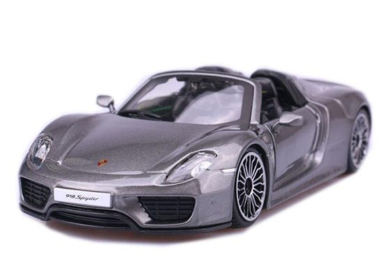 1:24 Scale Gray Die-Cast Porsche 918 Spyder Model