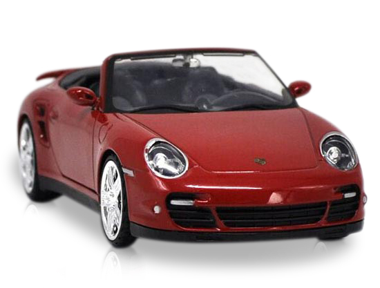 Red 1:24 Scale Die-Cast Porsche 911 Turbo Cabriolet Model