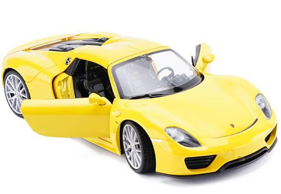 1:24 Welly White / Black / Yellow Diecast Porsche 918 Model