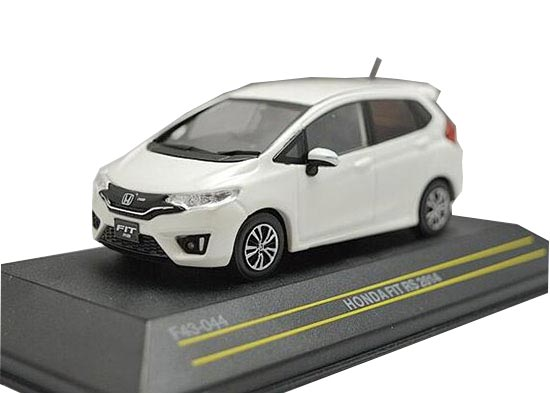 White / Blue 1:43 Scale First Diecast 2014 Honda Fit RS Model