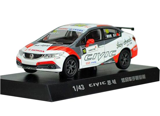 White 1:43 NO.10 Diecast Honda CIVIC Racing Car Model
