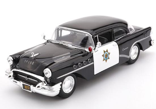 Black 1:26 Scale Diecast 1955 Buick Century Police Car Model