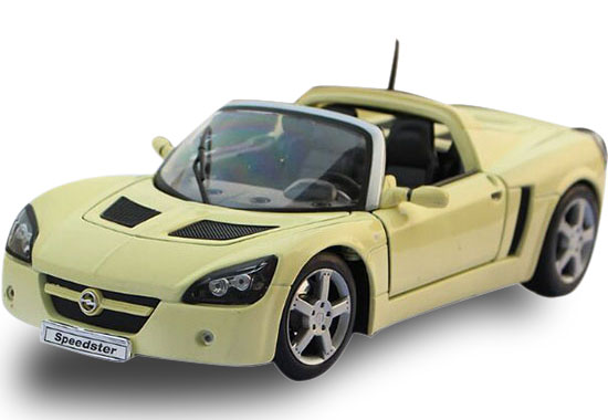 1:18 Welly Blue / Yellow Diecast 2001 Opel Speedster Model