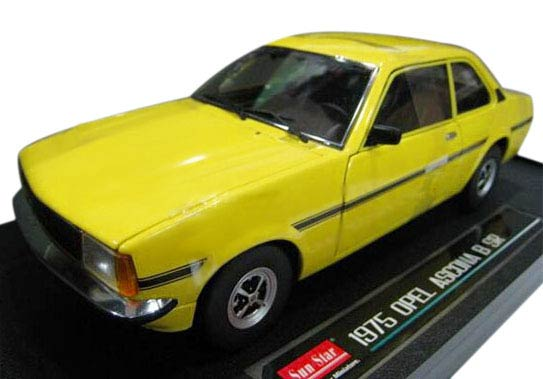 1:18 Sunstar Yellow / Green Diecast 1975 Opel ASCONA B SR Model