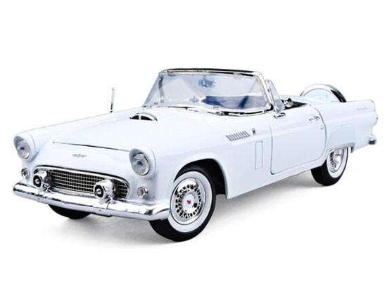 Red / White 1:18 MotorMax Diecast 1956 Ford Thunderbird Model