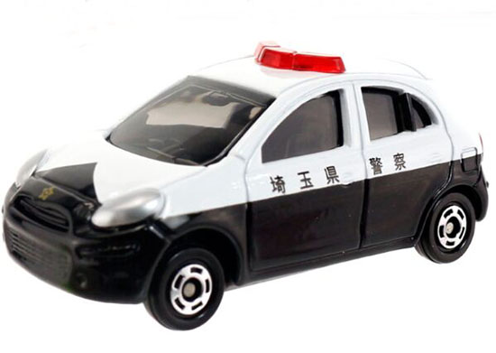 White-Black 1:58 Kids NO.17 Diecast Nissan March Police Car Toy