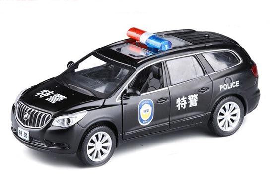 Black 1:32 Scale Kids Police Diecast Buick Enclave Toy