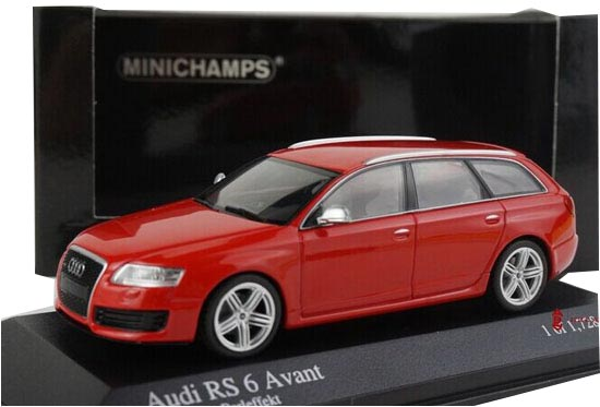 1:43 Scale Red Minichamps Diecast Audi RS6 AVANT Model