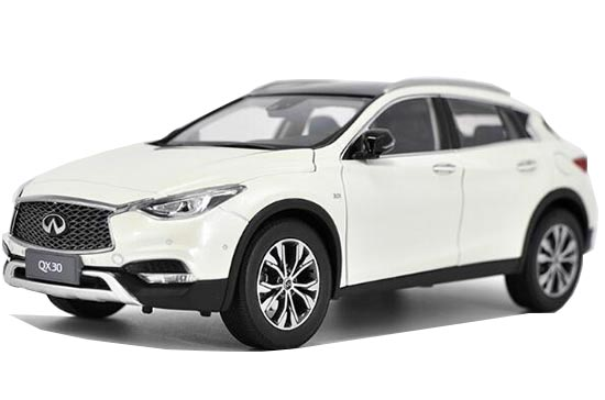 White 1:18 Scale 2017 Diecast Infiniti QX30 Model