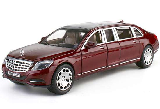 Black / Wine Red 1:24 Diecast Mercedes-Benz Maybach S600 Toy