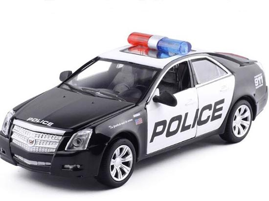 1:32 Scale Black-White Kids Police Diecast Cadillac CTS Toy