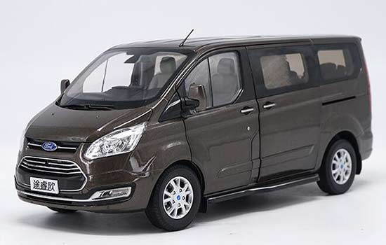 White / Brown 1:18 Scale Diecast Ford Tourneo MPV Model