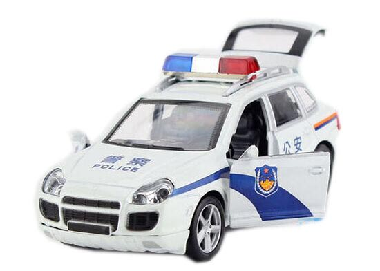 Kids 1:32 Scale White Police Theme Die-Cast Porsche Cayenne Toy