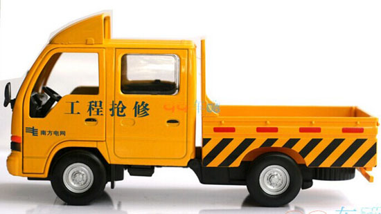Yellow / White / Blue 1:32 Scale Die-Cast Pickup Truck Toy
