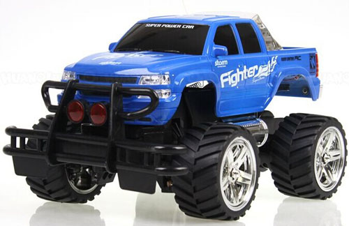 Kids 1:16 Scale Blue / Red Plastics R/C Pickup Truck Toy