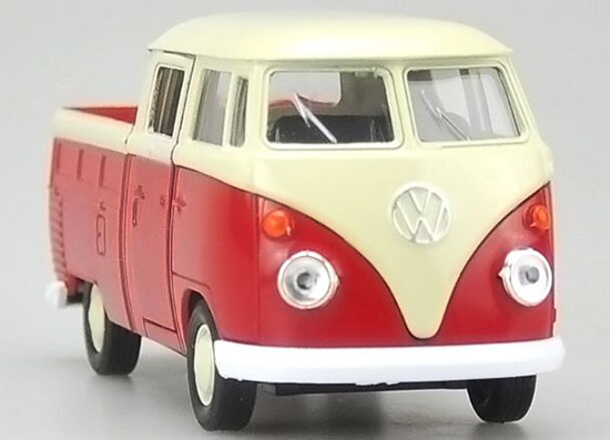 Welly 1:36 Scale Red-White VW T1 Double Cabin Pickup Truck Toy