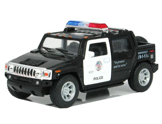 Kids Black Police Theme Diecast Hummer H2 Pickup Truck Toy