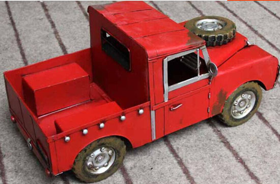 Large Scale Red Tinplate Vintage Style Pickup Truck Model