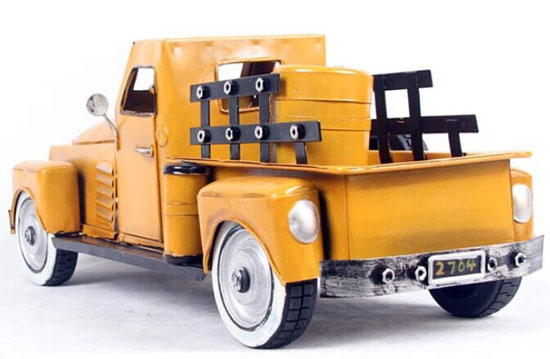 Yellow Large Scale Tinplate Vintage Style Pickup Truck Model