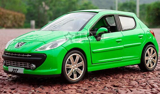 1:32 Scale Red / Green / White / Orange Diecast Peugeot 207 Toy