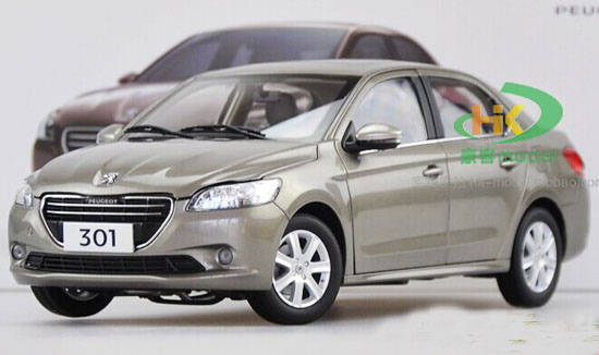 White / Gray 1:18 Scale Diecast Peugeot 301 Model