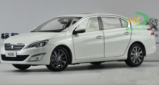 White / Black 1:18 Scale Diecast Peugeot 408 Model