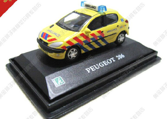 Yellow 1:72 Scale Cararama Kids Diecast Peugeot 206 Toy