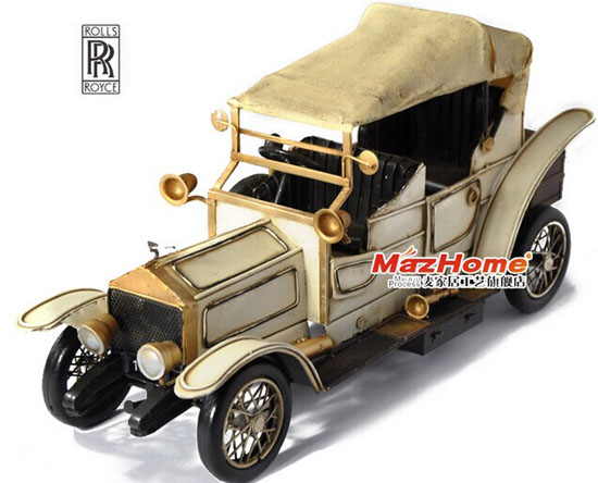 Tinplate Large Size Creamy White Rolls-Royce Vintage Car Model