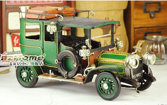 Green Tinplate Medium Size Vintage Style 1914 Rolls-Royce Model