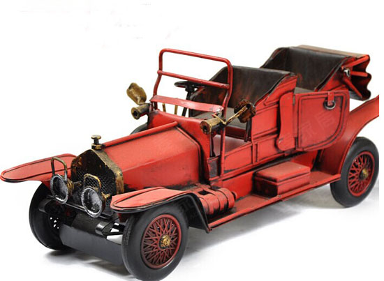 Red Medium Size Tinplate Vintage Style Rolls-Royce Model