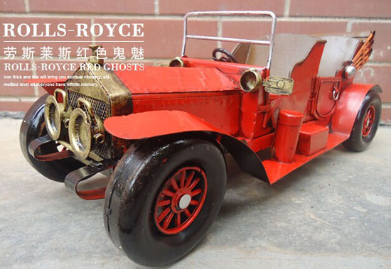 Vintage Red Medium Size Tinplate Rolls-Royce Red Ghost Model
