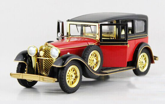 Kids 1:32 Scale Red / Black Diecast Rolls-Royce Vintage Car Toy