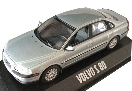 Silver / Light Blue 1:43 Scale Diecast Volvo S80 Model