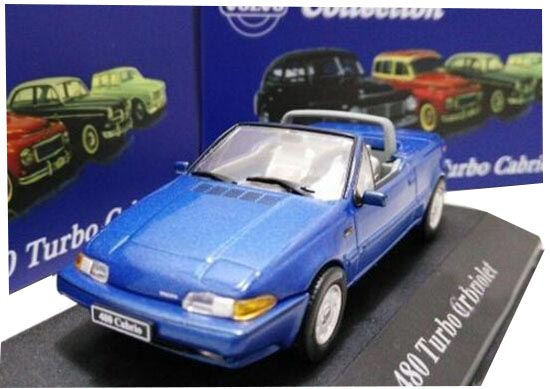 Blue 1:43 Scale Atlas Diecast Volvo 480 Turbo Cabriolet Model