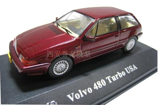 Wine Red 1:43 Scale Atlas Diecast Volvo 480 Turbo USA Model