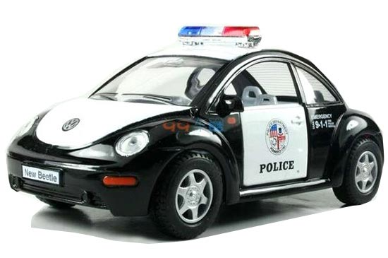 Kids 1:32 Scale Black Police Diecast VW New Beetle Toy