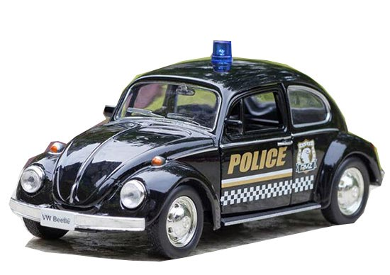 1:36 Scale Black Police Theme Diecast VW Beetle Toy